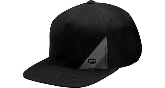 100% Waxed Snapback Hat black